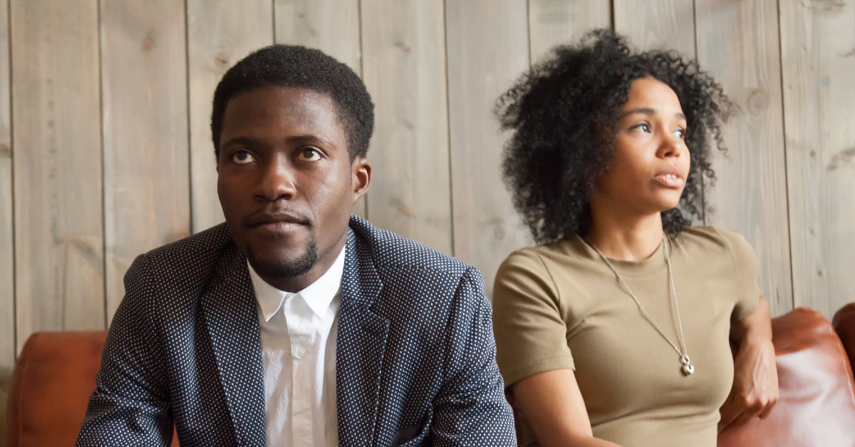 upset couple looking in opposite directions, scripture guide dating decisions